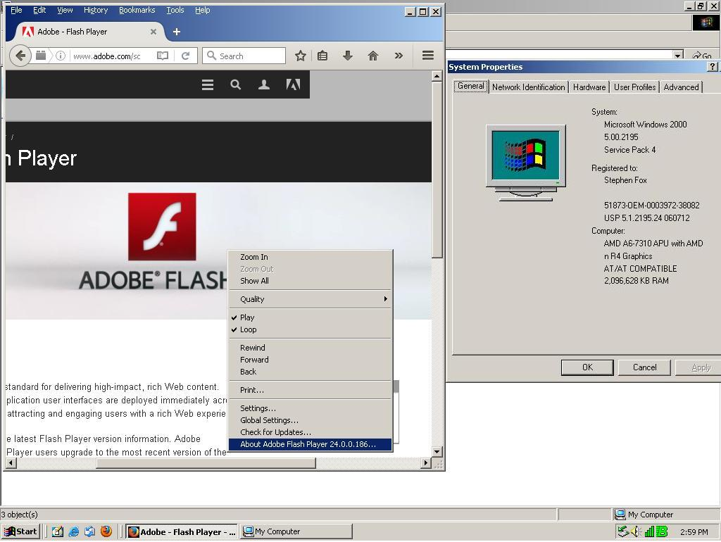 Firefox 48 0 2 and Flash Player 24 working on Windows 2000